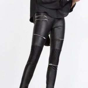 Zara Women's Black Faux Leather Biker Pants